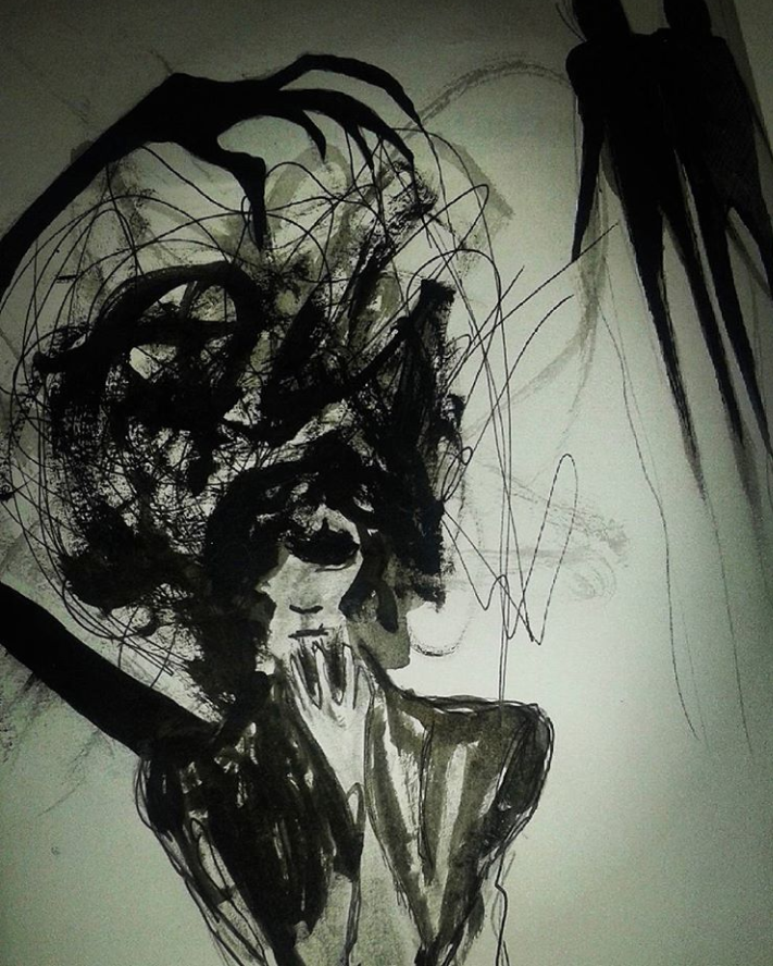 Démon (feutre noir)